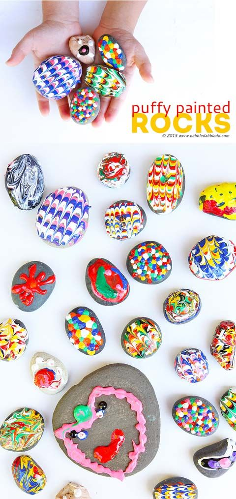 Puffy Painted Rocks: A classic craft with a twist! Use Puffy Paint to give rocks a rubbery texture and create bold, bright designs.