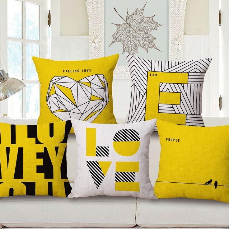 "Cotton Linen Square Decorative Throw Pillow Case Invisible zipper design Geometric Printed Yellow Pillow cover 18"" coussin jaune #Affiliate"