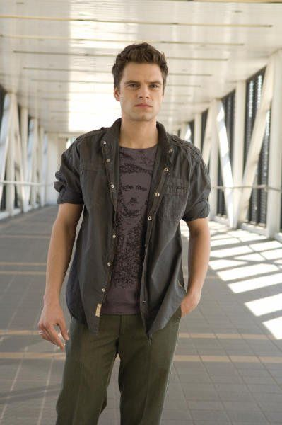 Sebastian Stan.  GREAT style! yeah, he's got edgar allan poe on his shirt i think.