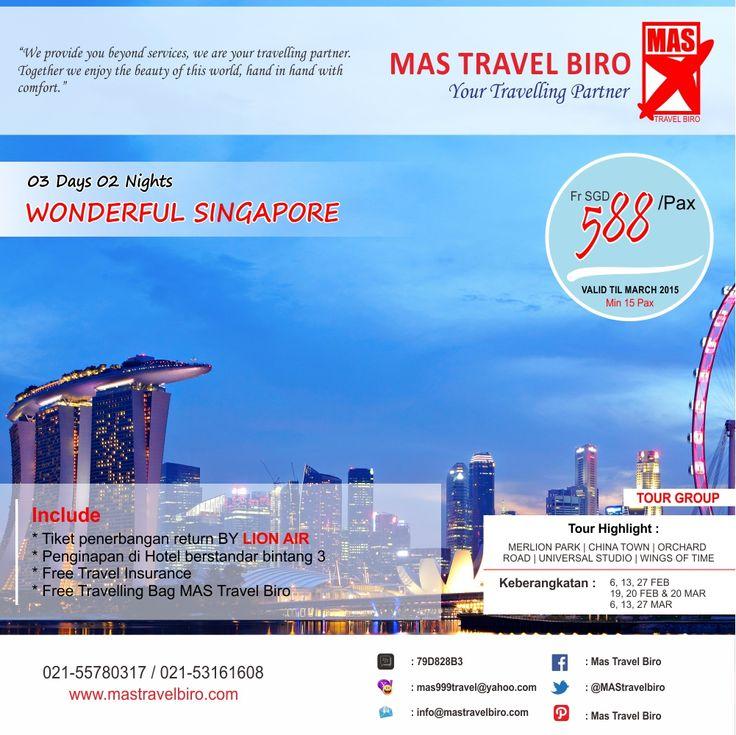 Liburan ke Singapore include: Tiket Pesawat Tour dan Hotel? Booking segera di Mas Travel Biro Info: 021-55780317 / 021-53161608