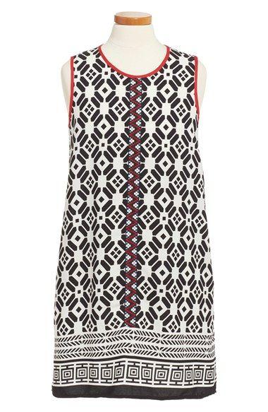 Monteau Couture Print Sleeveless Shift Dress (Big Girls)