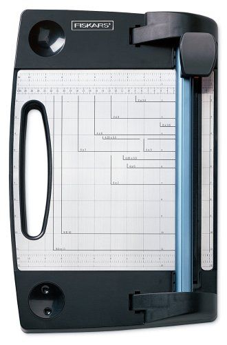 Fiskars 196800-1001 12-Inch European Rotary Paper Trimmer Magnetic paper clip holder. Precision 45mm rotary blade cuts up to 10 sheets of 20 lb. paper at a time. English and metric measurements. Additional decorative blades available. Includes 4-sided cutting strip.  #Fiskars #ArtAndCraftSupply