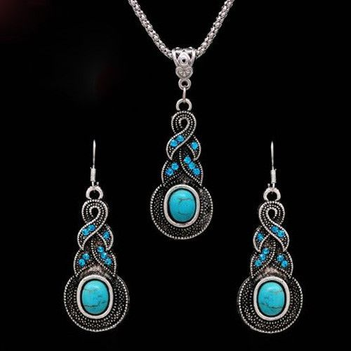 Bohemian Crystal Drop Turquoise Necklace and Earring Set #UCHARMMEconz #plus #shipping #Gift #free