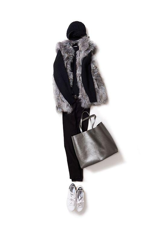 Kyoko Kikuchi's Closet #kk-closet 上品なファーをオールブラックと着る