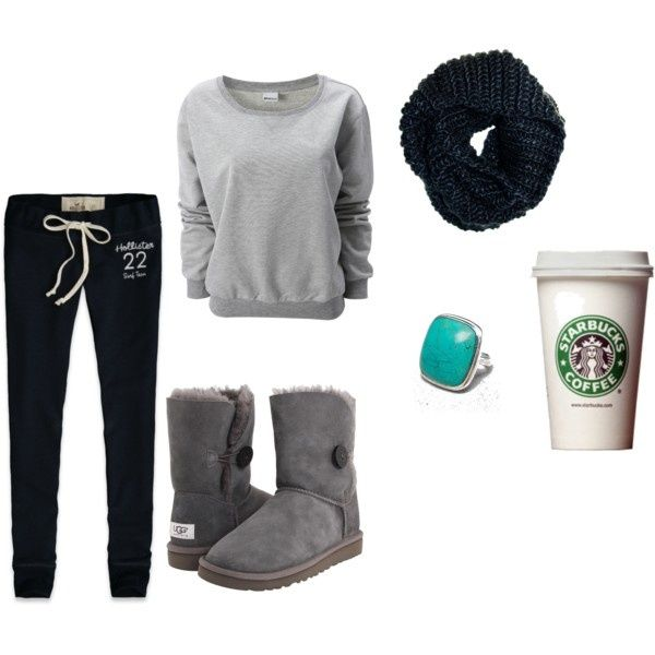 """Lazy day outfit. I'm pinning this in """"Giggle Fits"""" because the Starbucks tumbler is included as part of the outfit."""