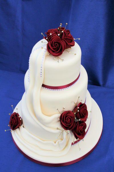 Burgundy Diamante Wedding Cake Cakepins
