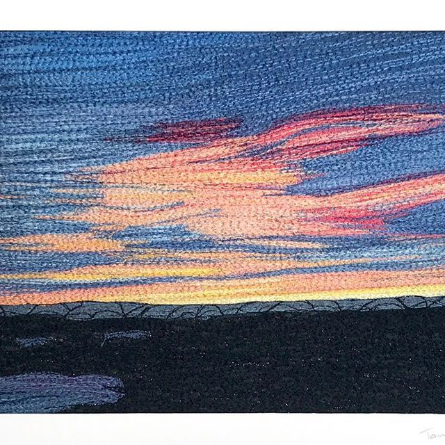 #Sunset over #Canberra. My latest piece #machineembroidery #freemachine #embroidery #fibreart #textileart #nightsky - Karhina.com Textile Artist Tamara Russell