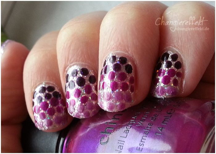Nageldesign: Gradient dots & Glitzer