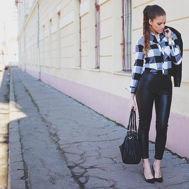 Plaid #shirt and #fauxleather #pants...fab combo..:) Available at www.famevogue.ro  #casual #street #ootd #fashion