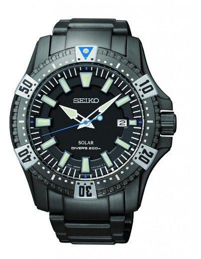 Montre Seiko Diver SNE281P1, fonctionnant à l'énergie solaire, boîtier et bracelet en acier, couronne vissée.