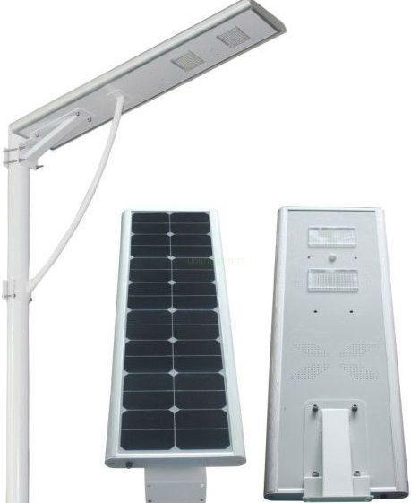 Inteligentní LED solární veřejné osvětlení - Zvrchu světla je solární panel, který zajišťuje dostatek energie až na tři dny. Proud se uloží do baterie a poté se po setmění LED diody rozsvítí. Vespod je zabudované PIR čidlo. Pokud v okolí není pohyb, světlo přechází do úsporného řežimu, spotřeba je poté 10W