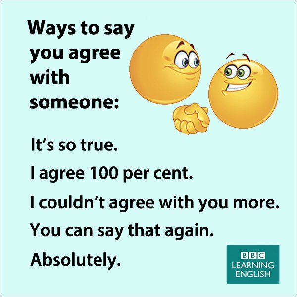 Ways to say you agree with someone More