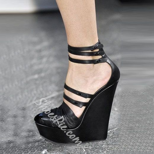 Shoespie Drape Pointed Toe Wedge Heels