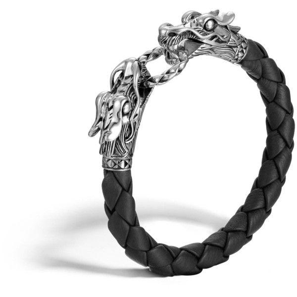 John Hardy Legends Naga Woven Leather Dragon Bracelet ($495) ❤ liked on Polyvore featuring jewelry, bracelets, black, john hardy jewelry, john hardy, john hardy jewellery and john hardy bangle
