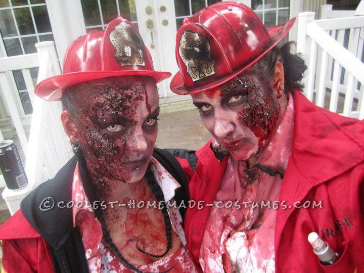 horrifying diy firewoman zombie costumes for a couple scary halloween - Cheap Creepy Halloween Costumes