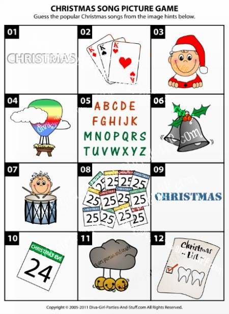 Christmas song picture game