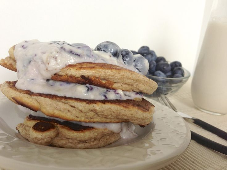 Protein Pancakes with Healthy Blueberry Cheesecake Frosting