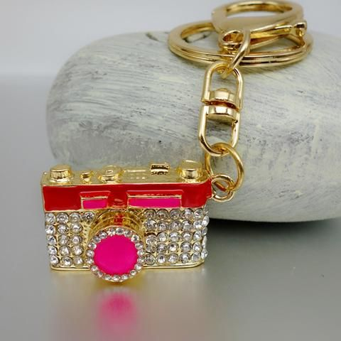Gold Crystal Camera Key Chain Holder with Rhinestones