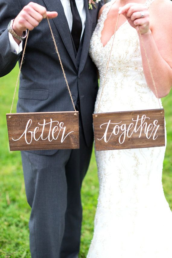 Our Better Together Chair Signs make a beautiful decoration for your special day! You can hang them on your chairs, use them as photo props, or