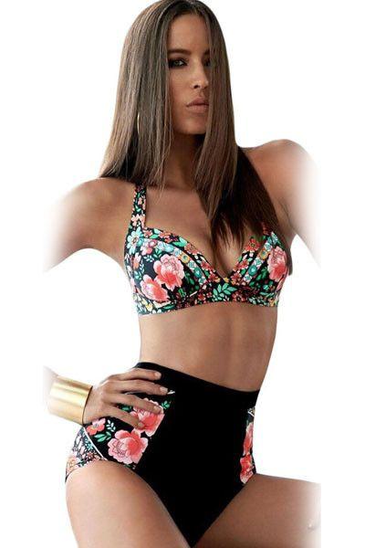 Vintage Floral Print Black High-Waisted Bikini