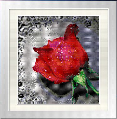 Red Rose cross stitch design without a stitch - beading by number kit
