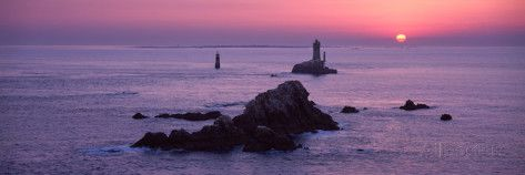 La Vieille Lighthouse at Sunset, Finistere, Brittany, France Fotoprint