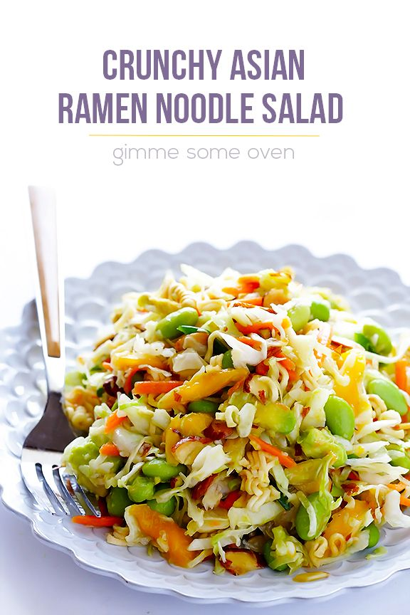 This updated Crunchy Asian Ramen Noodle Salad recipe takes just minutes to make, and is sweet, savory, and SO good!