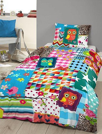 parure de lit imprim 39 savane 39 patchwork. Black Bedroom Furniture Sets. Home Design Ideas