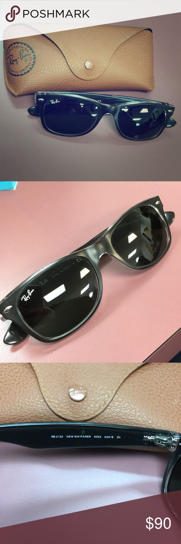 "Adult Like-New ""New Wayfarer Ray-Bans"" Black, Raybans, Comes with case Ray-Ban Accessories Sunglasses"
