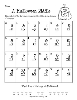 First Grade a la Carte: Halloween addition and subtraction codes