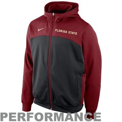 Nike Florida State Seminoles (FSU) Basketball Performance Full Zip Hoodie - Black/Garnet $79.95