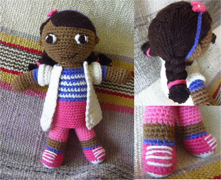amigurumi doctora juguetes, amigurumi doc mcstuffins, crochet dolls. basic doll pattern from http://www.youtube.com/watch?v=IGUSJMJEoJg