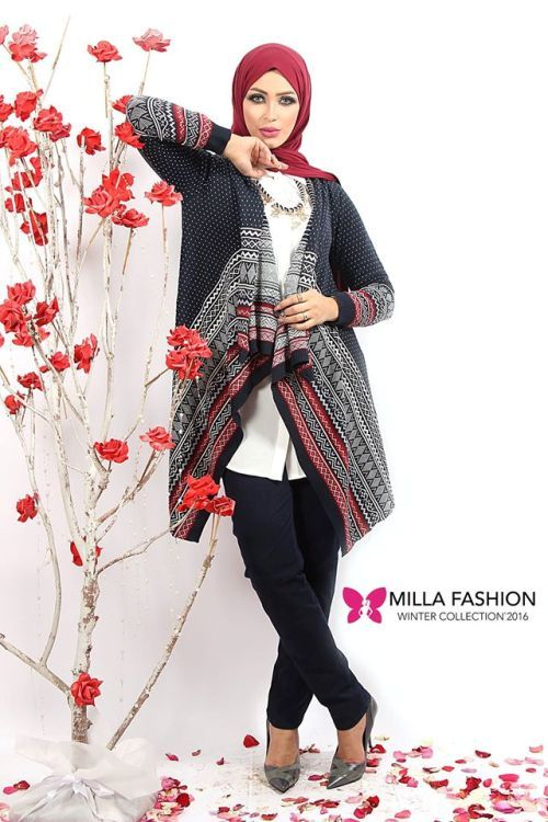 winter cardigan hijab style