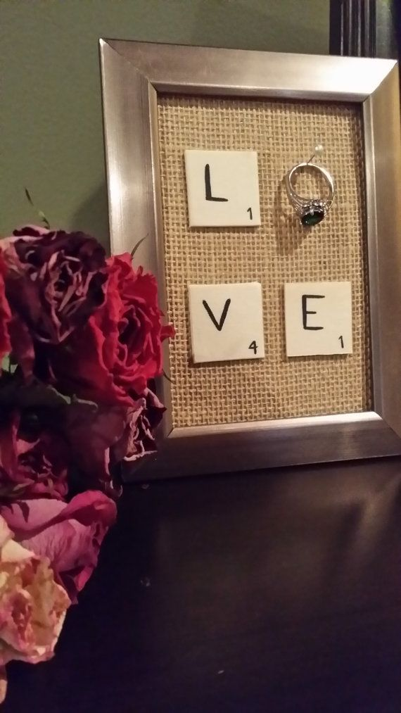 Wedding Engagement Ring Holder Frame Love Scrabble