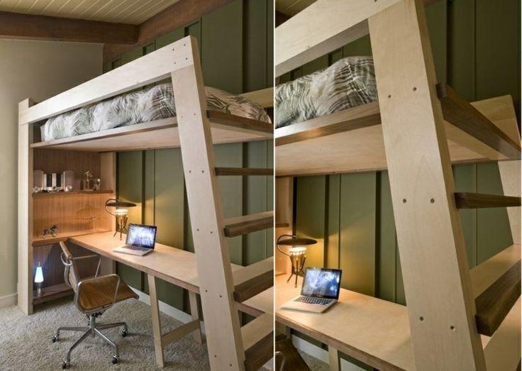 Moderne Möbel Idee mit Schreibtisch und Regalen unter dem Bett