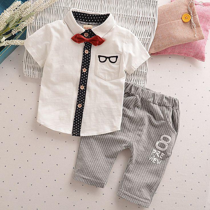 Toddler Children Clothes Summer Baby Boys Clothing Sets Gentleman Clothes Suits Kids Sweatshirt Child Formal Shirt+short Pants ($8.66)