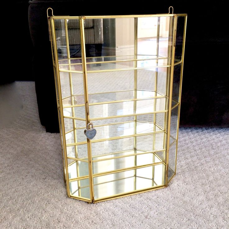 Large Glass display case /  mirrored glass shelves with brass trim / brass Glass Display by EllasAtticVintage on Etsy