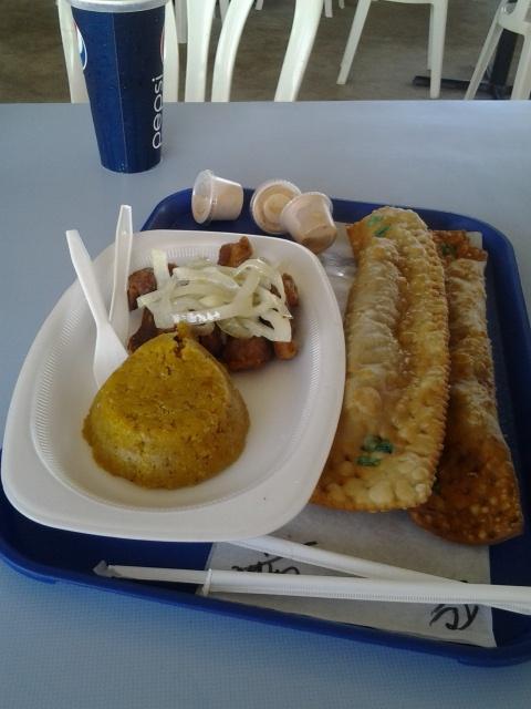 "Mofongo, Fried Meat + 12 inches= Delicious chips""La Casa de los Pastelillos"" Guayama P.R"