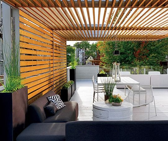 Love the vertical boards.  Shady Style: Patios with Pergolas Inspiration Gallery | Apartment Therapy