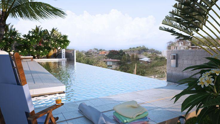 villa white piscine a debordement