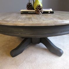 Restoration Hardware Inspired Coffee Table. Top paint in a custom Annie Sloan mix and bottom Graphite. #anniesloan #restorationhardware #graphite