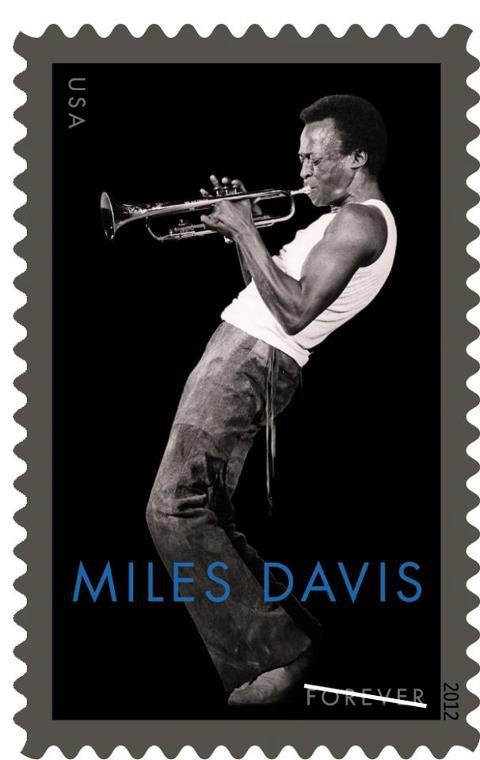 """The beautiful new Miles Davis stamp!    The newly-announced Miles Davis stamp's West Coast issue will be honored during """"A Celebration of Miles Davis"""" on Wednesday, June 27. The stamp will be issued as a Forever stamp in June. Art director Greg Breeding designed the stamp using a black-and-white photo of Davis, from 1970, by David Gahr."""