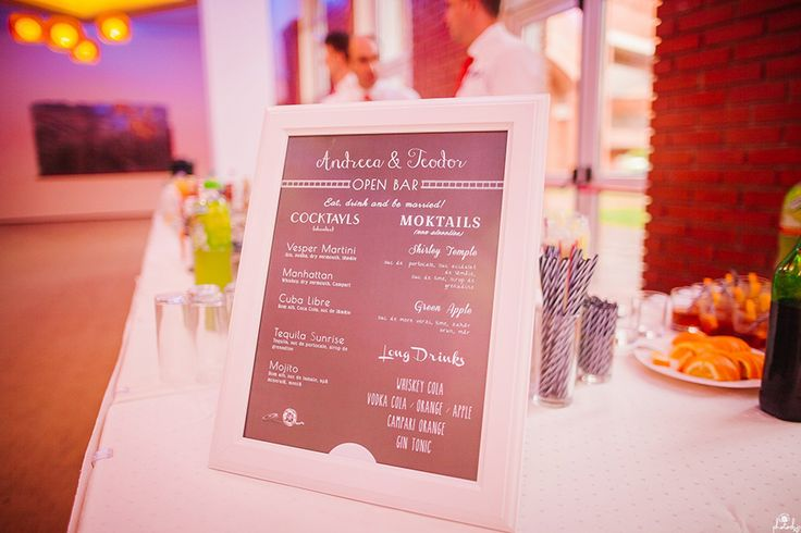 Movie Theme Wedding - Cocktail Bar Menu Photo by www.photochic.ro
