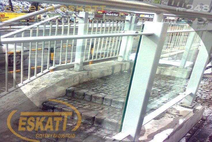 Glass balustrade; with clamps #balustrade #eskatt #construction #stairs