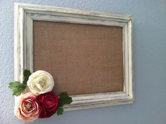 Decorative Magnetic Boards | Decorative magnetic framed burlap board with distressed hand-painted ...