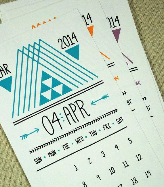 Lines Triangles & Arrows Printable Desk Calendar by govango, $5.00