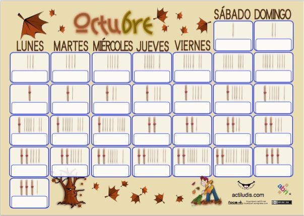 Calendario mes de octubre con palillos