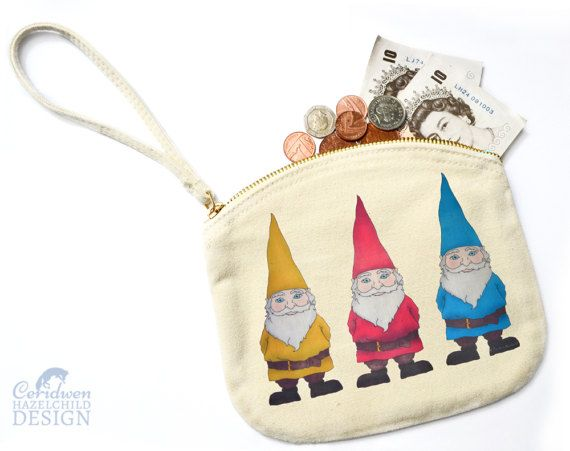 Gnomes Canvas Zip Purse Makeup Bag Coin Purse Small Accessory Pouch by ceridwenDESIGN http://ift.tt/1rw55lH