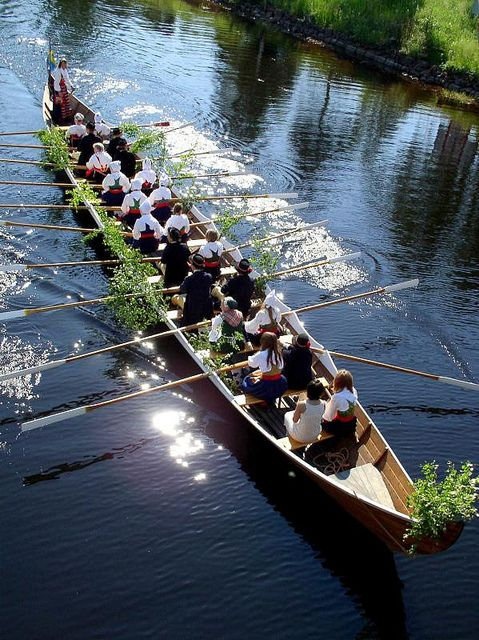 Rowing to church on Sunday in Rättvik, Sweden...would this be cheating in a race?