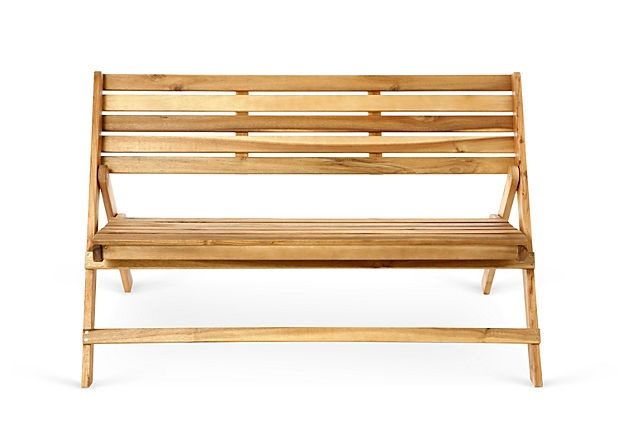 """Elba Outdoor Bench, Natural on OneKingsLane.com  Made of: acacia Size: 48""""W x 22.8""""D x 31.5""""H; seat height, 18"""" Weight: 25 lbs Finish: natural  Made of solid acacia wood and featuring a classic, timeless design, this bench is a must-have. Better yet, the versatile, water-resistant piece is foldable, providing easy transport and storage.  $179.00"""